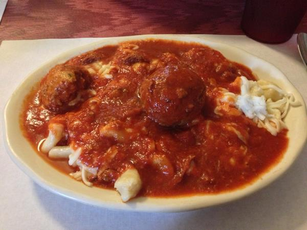 Gnocchi with meatballs and mozz cheese